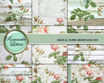 Sabby Rose digital paper pack digital scrapbook wedding background paper Shabby chic frame digital wood texture printable decoupage paper