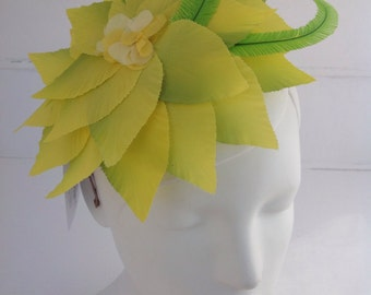 Citrus yellow petal headpiece, with ostrich feathers