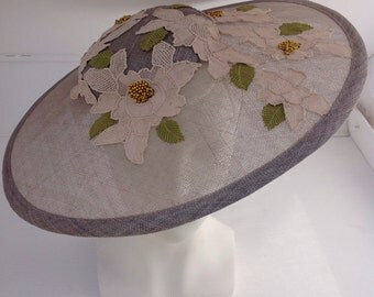 Grey sinamay picture hat with vintage lace