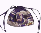 RESERVED FOR SHEFFNER--Purple patchwork drawstring pouch