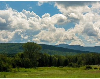 Pastoral Landscape with Mountains and Trees Color Landscape Photograph Print