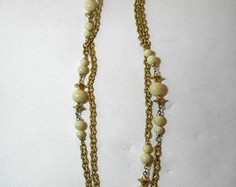 XTRA LONG Gold Tone and Beige Beads Seventies Vintage Necklace
