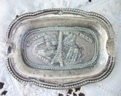 Vintage Paris France Souvenir ~ Small Metal Tray ~ Pin Tray ~  Raised Detail