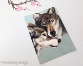 Wolves aceo art print, wolf art, wolf painting, fine art print, wildlife aceo, animal aceo, art card, nature inspired, artist trading card