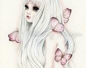 Limited edition art print, unicorn girl, big eye girl art, fantasy creature, unicorn and butterfly painting, archival gicleé fine art print