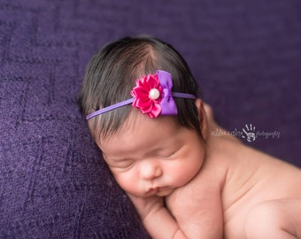 Baby Headband, Floral Headband, Skinny Headband- Newborn-2t Purple and Pink Baby Headband Photography Prop