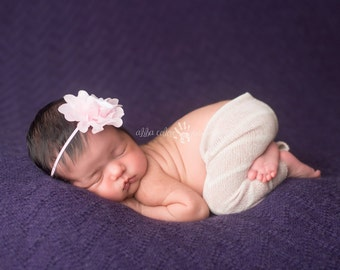 Baby Headband, Infant Headband, Newborn Headband- Baby Pink Chiffon Flower Baby headband newborn-2t Photography Prop