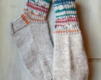 Boot wool Socks with multicolor cuffs Womens boys girls Warm Durable Cozy brown gray Autumn Machine washable Handknitted Made in Finland