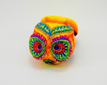 Love box of the day of the dead owl ring box