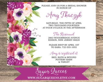 DIGITAL Bridal or Baby Shower Watercolor Floral Invitations Rustic DIY Printable Files Modern Beautiful Flowers Chic Girly Calligraphy
