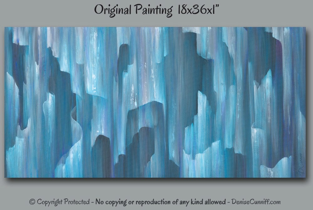 Teal Home Decor Turquoise Blue And Gray Abstract Painting