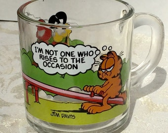 Vintage McDonald's Collector Glass Coffee Mug Garfield and Odie 1980