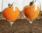 Hand Painted Wine Glasses - Pumpkin Wine Glasses - Gift Idea