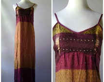 90s Ethnic Print India Maxi Dress Vintage Summer Silk Pink + Iridescent Gold Womens Size L 1990s Hippie Bohemain Indian Clothing Boho Hippy
