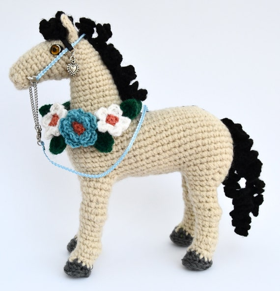 Amigurumi Horse Head : Handmade Amigurumi Crocheted Horse with Decorative Ribbon with