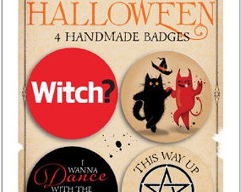 Mad Old Cat Lady NEW Halloween pin badges pack 2