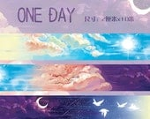 Last one- - - -Designer Custom made paper masking tape-Limited Edition one day Clear blue sky Sky Sunset Color Cloud Birds Moon Night 1 ROLL