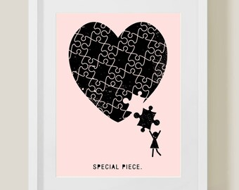 Special Piece Printable (GIRL), art print, baby girl art, baby pink, 8 x 10