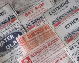 Medicine Bottle Labels, Antique Labels, Pharmacy, Drug Store, Authentic, Ephemera, 1800, 8 Labels, Apothecary, Supplies, Props, Scrapbooking