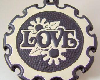 1960s Flower Power Ceramic LOVE Trivet Wall Hanging