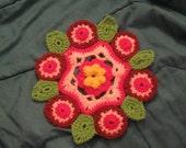 Pink Crochet Flower Motif Mandela Pattern PDF File