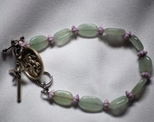 Green and Purple Rosary Bracelet