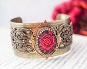 Brass Red Rose Filigree Cuff Bracelet Boho Gypsy Victorian Steampunk 'Anna Karenina'