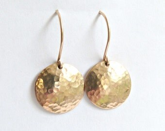 Wife Gift Gold Dangle Earrings Hammered Disc Drop Earrings Gold Silver or Rose Gold Bridesmaid Jewelry Everyday Earring