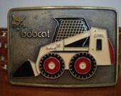 Vintage Mens Belt Western Kona 1960s/1970s Tooled Belt Enamel Clark Bobcat Buckle