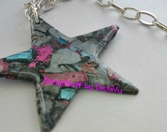Large Star Pendant Necklace, silver tone chain, handmade, metallic colors, Thermoplastic, OOAK, egst, made in Greece