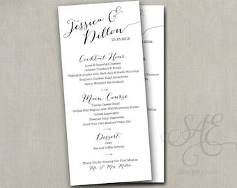 "Wedding menu card, custom wedding menu, Printed printable non-editable PDF file avail, wedding reception menus, 4 x 9"" menu, elegant script"
