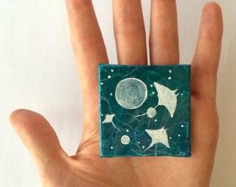 "2""x2"" Art Hand-Painted Magnet - String Rays - Ocean Art - Shimmer Paint"