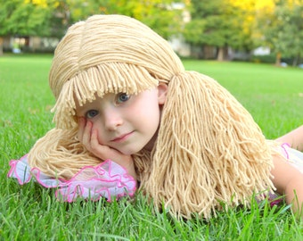 Beige Doll Wig Cabbage Patch Inspired Baby Hat Baby Girl Halloween Costume Pageant Hair
