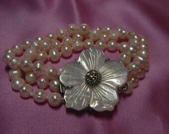 Genuine Cultured Baroque Freshwater Pearl 3 Strand Bracelet, MOP Clasp