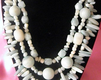 Genuine Natural Amazonite  Three Strand Necklace