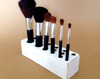 Makeup Brush Organizer Distressed White Wood