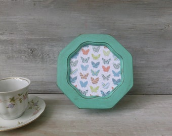 Small Upcycled Jewelry Box Painted Mint Green