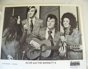 Alvis and the Barnetts gospel singers autographed PR photo