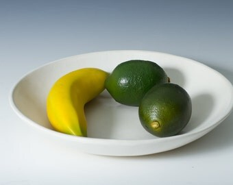 Medium / Large Matte White Stoneware Pottery Ceramic Salad Serving or Fruit Bowl 10 by 1.5 inches - Ready to shipS