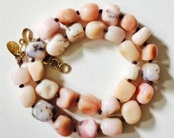 Hand knotted rose quartz necklace