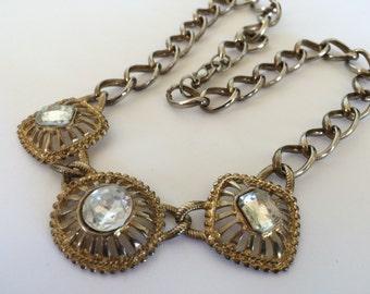 Vintage Ornate Rhinestone Necklace - Triple Pendant