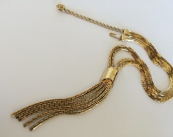 Vintage Flapper Tassel Necklace - Gold Tone Box Chain - Statement Necklace