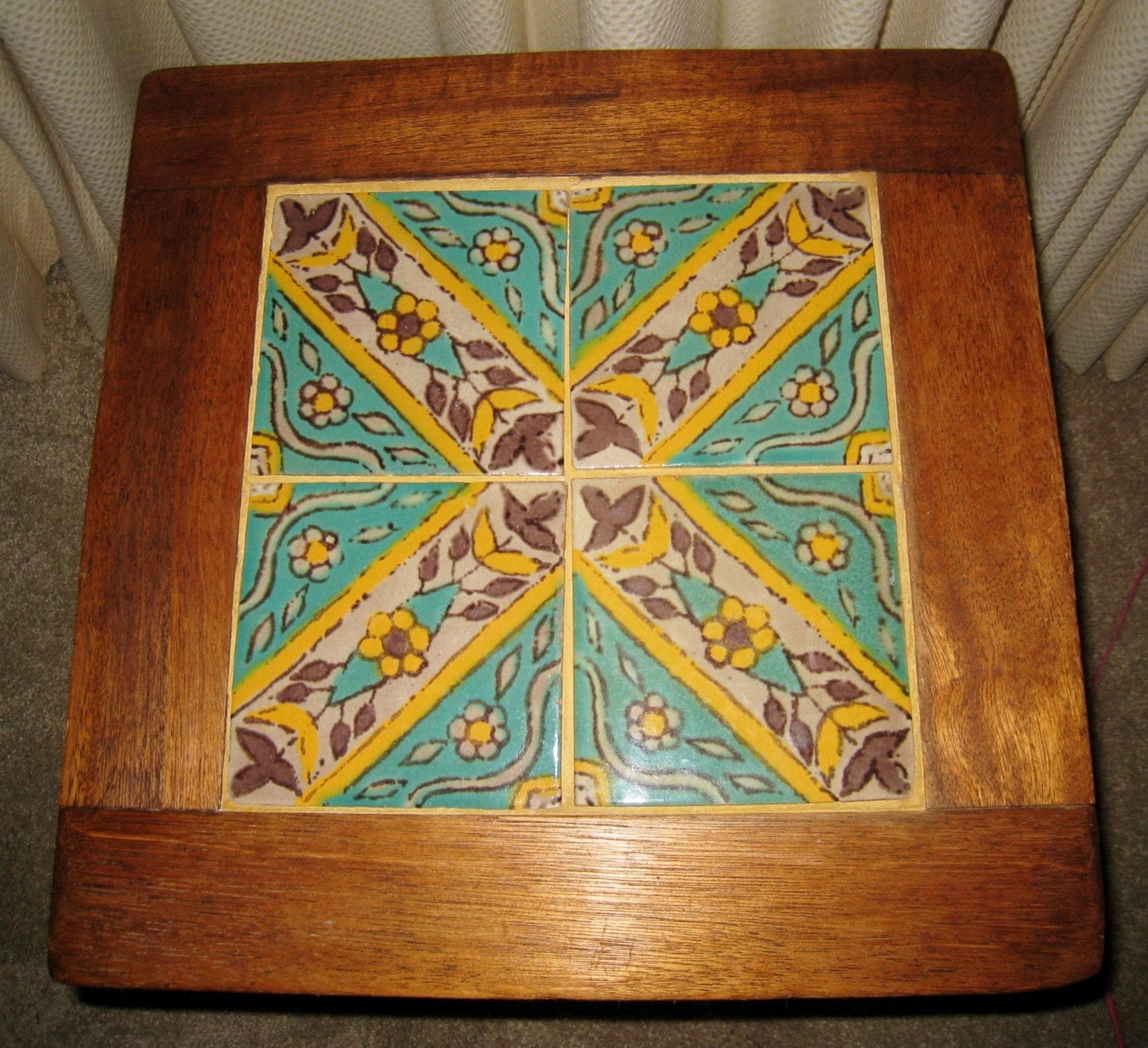 Vintage california catalina tile table mission arts and for Arts crafts tiles