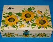 Decorative Wooden Tea Box Wood Tea Chest Sunflower Tea Storage Gift Personalized Tea Container Hand Painted