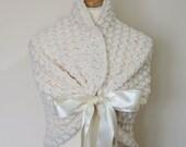 Cuddly Flower Girl Shawl, Little Girl Wedding Shawl, Ivory Cover Up, Warming Winter Wedding Bolero Jacket for Flower Girl Dress