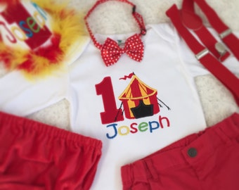2-pc set Circus Birthday outfit-includes personalised top (onesie/tee)and bottom (shorts/Diaper cover/longpants)