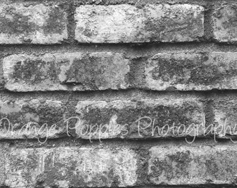 Black and White Brick Wall Photograph *choose your size*