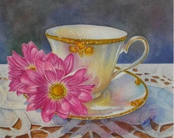Miss Amborsia Watercolour Teacup Print With Pink Daisies