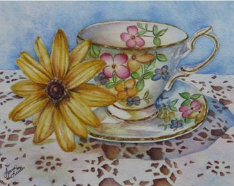 Lady Beatrice Teacup Art Reproduction Giclee Print