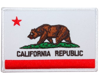 "US ""California Republic"" American State Flag Bear Ensign Iron On Applique Patch"